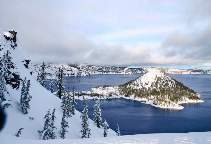 Crater Lake, Wizard Islnd in Snow