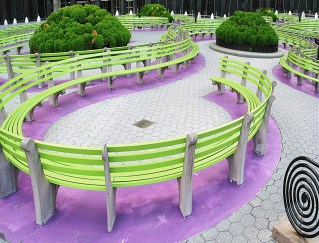 Swirling Benches. Lower Manhattan NYC