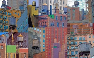 Buildings and Water Tanks, Photo Collage, New York