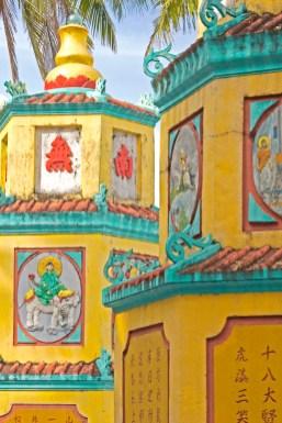 phu Quoc pagoda and palm vietnam