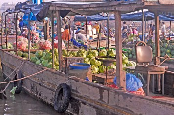 Cantho Vietnam floating market boat w cabbage