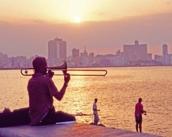 Malecon Trombone Player and Fishermen, Havana