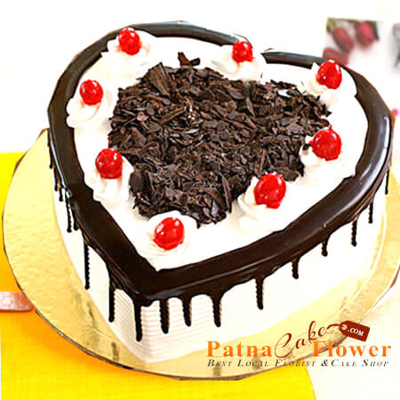 eggless Delicious Black Forest Heart Shape Cake patna order only