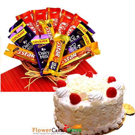 Half Kg White Forest Cake And Chocolate Basket