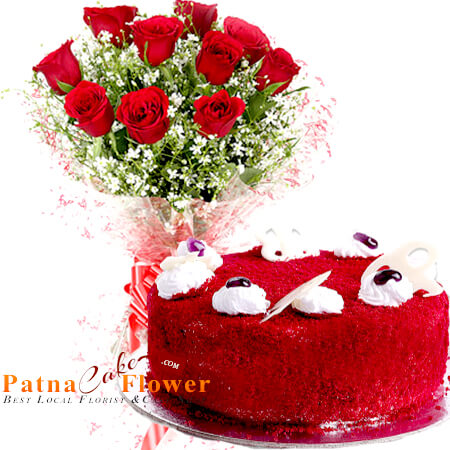 red velvet cake and 10 red roses bouquet