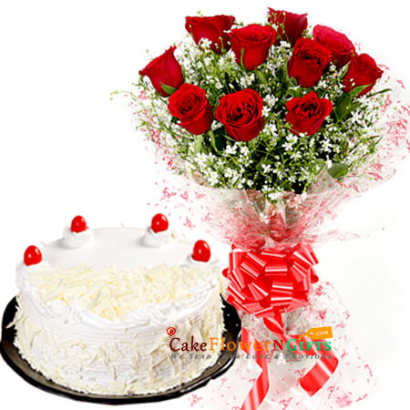 white forest cake and 10 red roses Bouquet