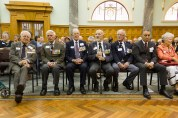 The veterans wait for proceedings to begin
