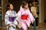 Wearing colorful yukata