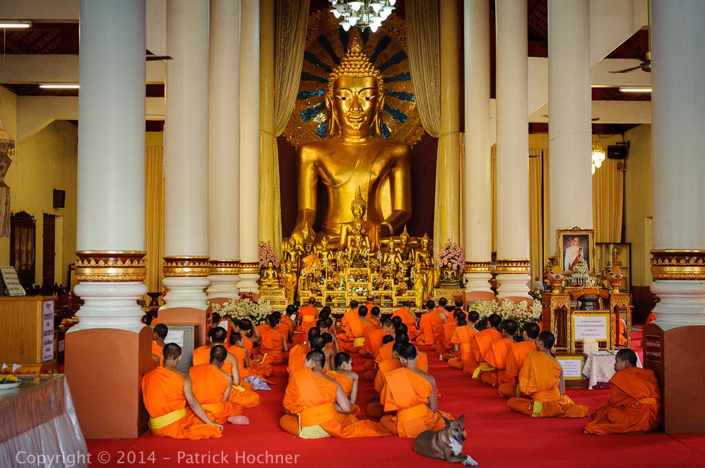 Cérémonie bouddhiste dans un temple, Chiang Mai, Thaïlande