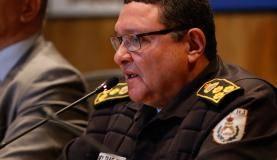 Rio de Janeiro - O comandante-geral da Polícia Militar do Estado do Rio de Janeiro, cel. Wolney Dias, durante coletiva da Operação Calabar deflagrada para prender policiais corruptos e traficantes, na Baixada Flumine
