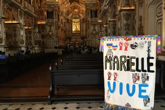 Rio de Janeiro Missa celebrada neste sábado, quando se completa um mês do assassinato da vereadora Marielle Franco