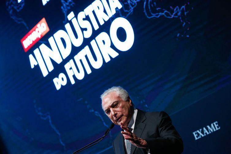 O presidente Michel Temer durante a Cerimônia de Encerramento do Fórum Exame e CNI