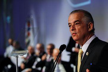 O governador de São Paulo, Márcio França, participa da cerimônia de abertura da APAS Show 2018.