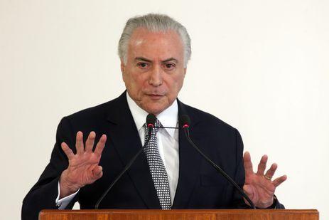 O presidente Michel Teme discursa durante cerimônia de liberação de recursos para Teresina, Piauí, no Palácio do Planalto.