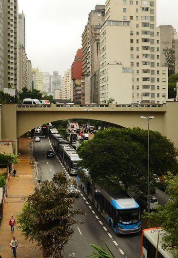 São Paulo - Paralisação dos motoristas de ônibus e cobradores na Avenida Nove de Julho, região central da cidade (Rovena Rosa/Agência Brasil)