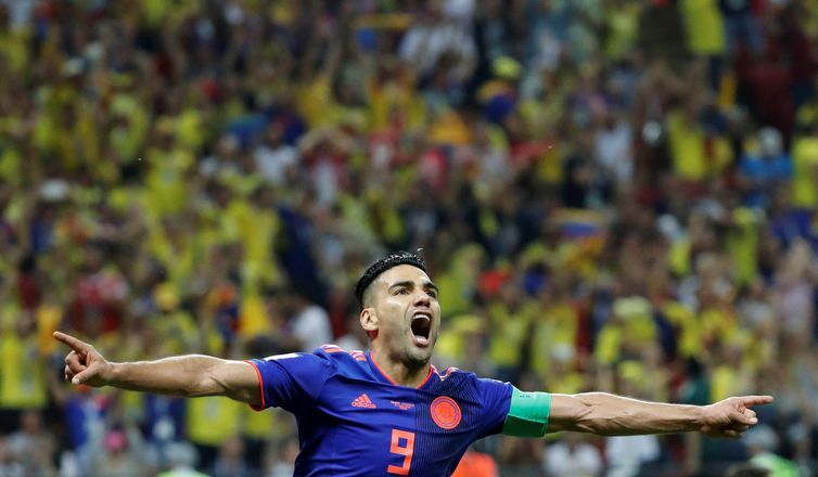 Soccer Football - World Cup - Group H - Poland vs Colombia - Kazan Arena, Kazan, Russia - June 24, 2018 Colombia's Radamel Falcao celebrates scoring their second goal REUTERS/Toru Hanai TPX IMAGES OF THE DAY