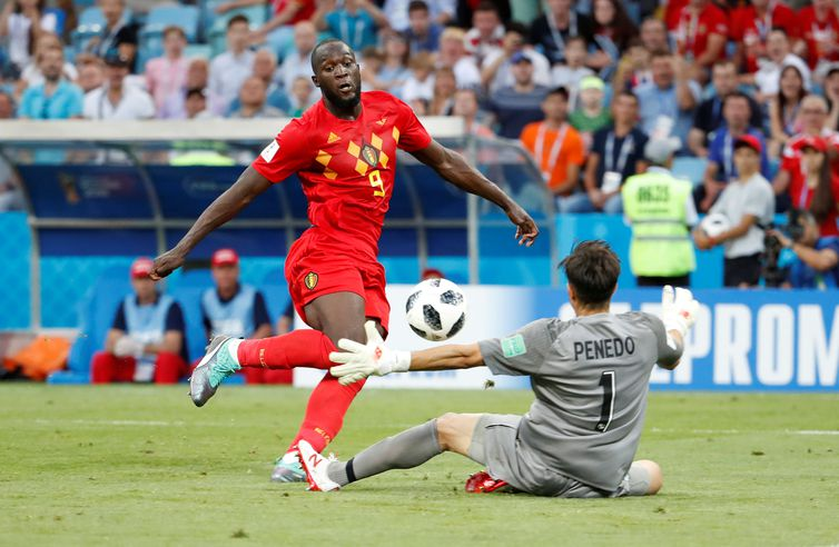 Copa 2018: Bélgica e Panamá. Romelu Lukaku faz o terceiro gol da Bélgica.