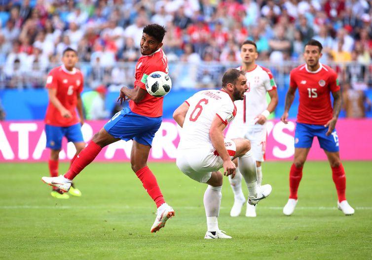 Pelo jogo do Grupo E da Copa do Mundo 2018, Costa Rica vence a Sérvia