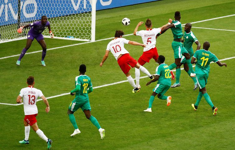 Copa 2018: Polônia e Senegal. Grzegorz Krychowiak, da Polônia, marca seu primeiro gol da equipe.
