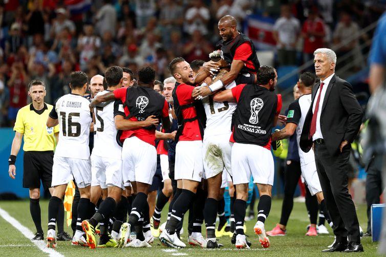 Copa 2018: Suíça e Costa Rica. Comemoração do primeiro gol da Costa Rica.