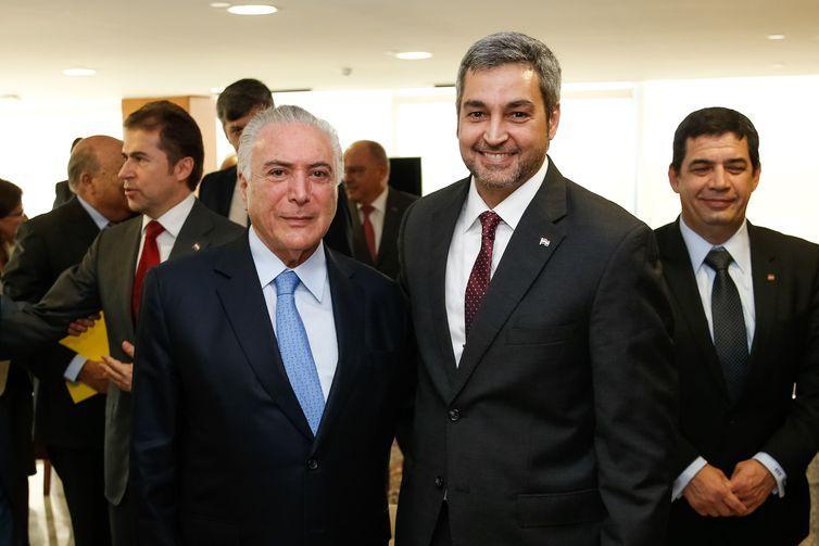 O presidente Michel Temer e o presidente eleito do Paraguai, Mario Abdo Benítez, durante encontro no Palácio do Planalto.