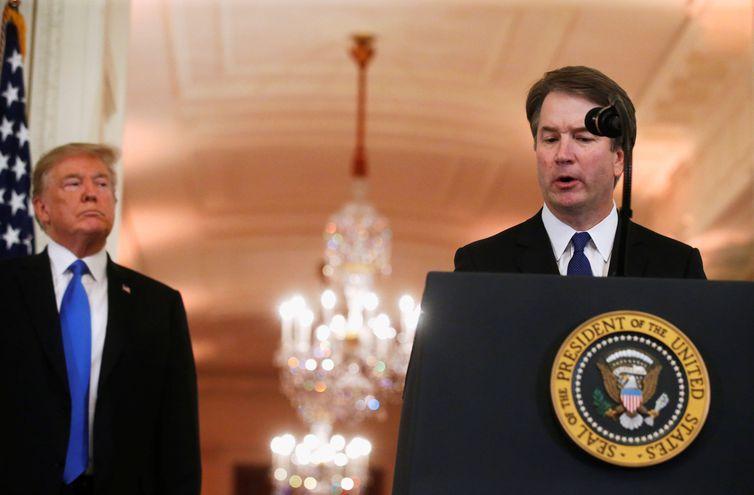 O juiz Brett Kavanaugh discursa na cerimônia em que foi indicado pelo presidente Donald Trump à Suprema Corte dos EUA.