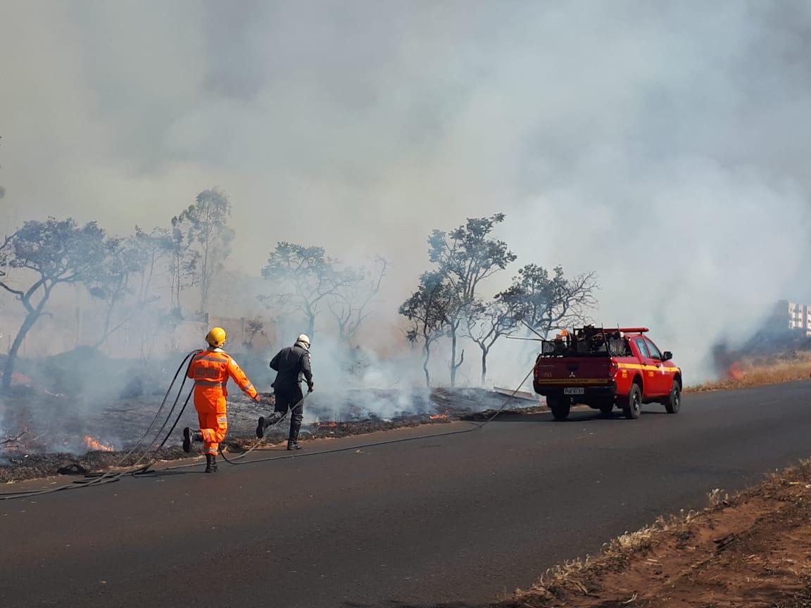 Atenção Motorista! Incêndio atinge vegetação em Uberlândia