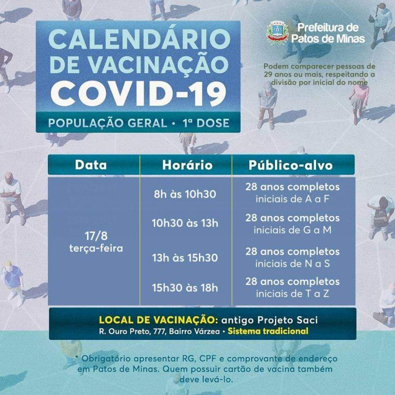 Vacinação COVID-19 terça-feira, 17 de agosto, em Patos de Minas
