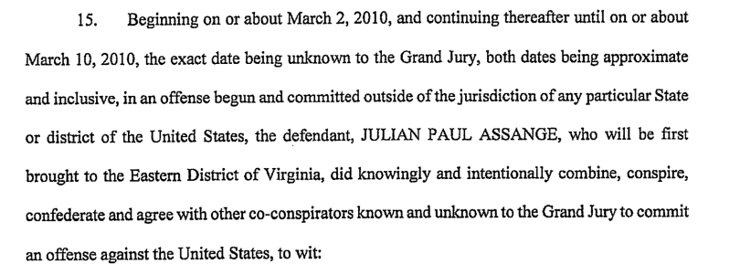 Passage from Assange indictment speaking of co-conspirators