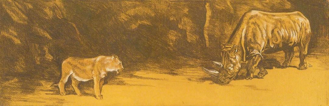 Lion & Rhino Pastel Art