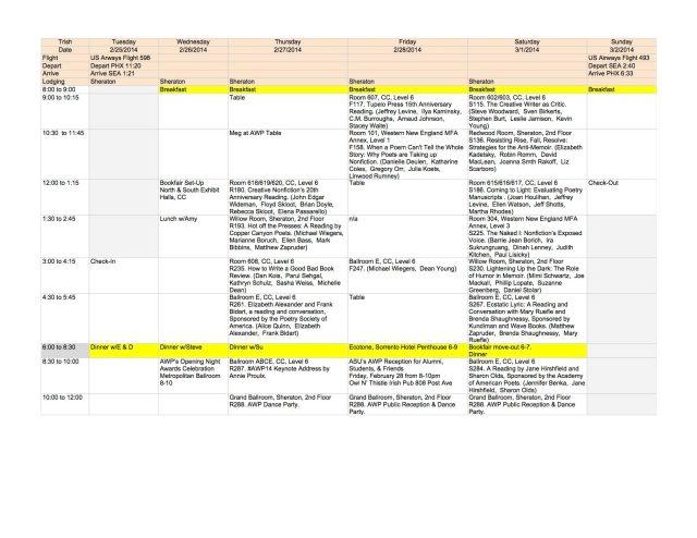 Trish's Schedule