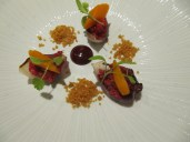 Tartare of aged Ayrshire beef with harissa carrots, beetroot and coriander.