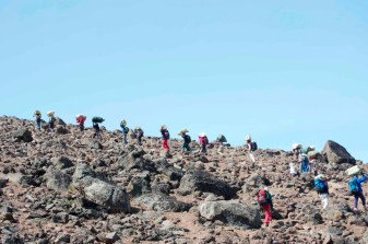 Here are our porters hiking out of camp.