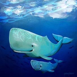 Sperm whale and calf
