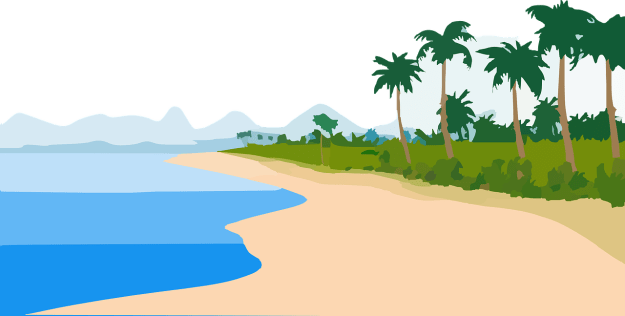 An illusration of a tropical beach with white sand, blue water, and palm trees in the foreground, and mountains in the background