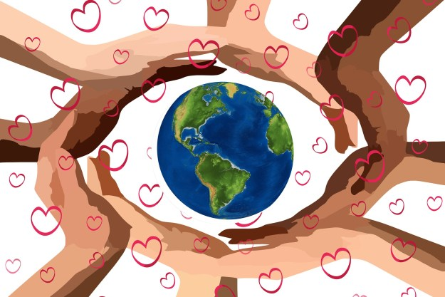 Illustration of hands in different skin tones surrounding the Earth. The image has heart shapes sprinked liberally.