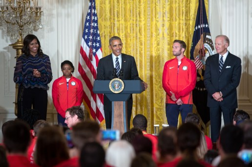 President Barack Obama delivers remarks during an event to welcome the 2016 U.S. Olympic and Paralympic teams to honor their participation and success in the 2016 Olympic games in Rio de Janeiro, Brazil, in the East Room of the White House, Sept. 29, 2016. First Lady Michelle Obama, Vice President Joe Biden, Simone Biles and Josh Brunais join the President. (Official White House Photo by Lawrence Jackson) This photograph is provided by THE WHITE HOUSE as a courtesy and may be printed by the subject(s) in the photograph for personal use only. The photograph may not be manipulated in any way and may not otherwise be reproduced, disseminated or broadcast, without the written permission of the White House Photo Office. This photograph may not be used in any commercial or political materials, advertisements, emails, products, promotions that in any way suggests approval or endorsement of the President, the First Family, or the White House.