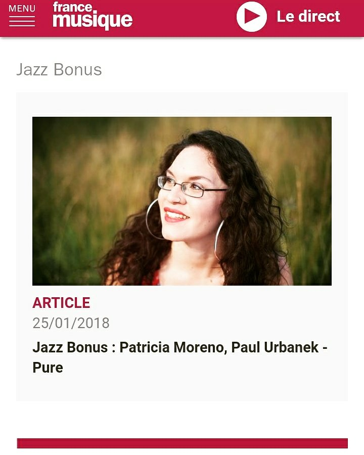 Patricia Moreno - the Jazz Singer on air on Radio Musique France