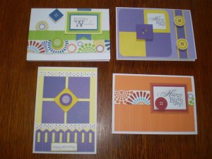 These cards have been created using the Cheerful Storybox Papers, Ribbons, and Buttons.  The greetings are printed of my StoryBook Creator 4.0 and the picket fence is made using my Border Maker System.