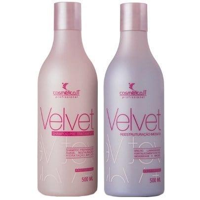 Cosmetica IT Velvet Duo Kit Shampoo Preparador 500ml e Reconstrutor 500ml  - Como recuperar cabelo emborrachado