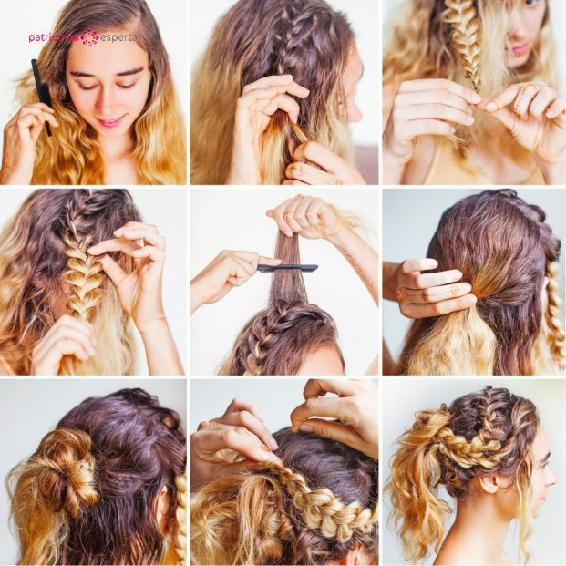 nine steps of creating the braided updo picture id490663618 621x621 - Penteados Para Madrinhas De Casamento 2017