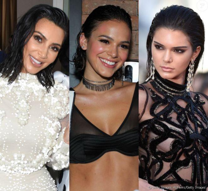 2196382 kim kardashian bruna marquezine e kenda 950x0 2 - Cabelo Com Efeito Molhado: Como Fazer? Quais Produtos Usar?