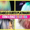 cabelo curto platinado com raiz colorido 1 - Cabelo Curto Platinado com Raiz Colorida - 50 fotos para te inspirar + dicas