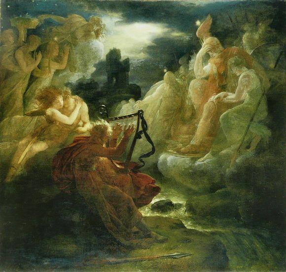 Ossian évoque les fantômes au son de la harpe sur les bords du Lora