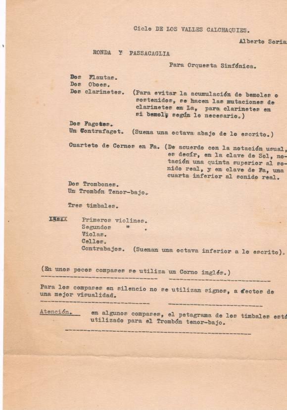 """Notas mecanografiadas por Alberto Soriano para """"Ronda y Passacaglia"""", primer movimiento del """"Ciclo de los Valles Calchaquíes"""""""