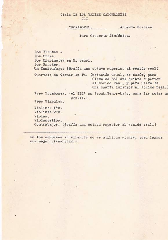 """Notas mecanografiadas por Alberto Soriano para """"Trovadores"""", tercer movimiento del """"Ciclo de los Valles Calchaquíes"""" (fuente: archivo Alberto Soriano, cortesía de Mireya Soriano de Lagarmilla)."""