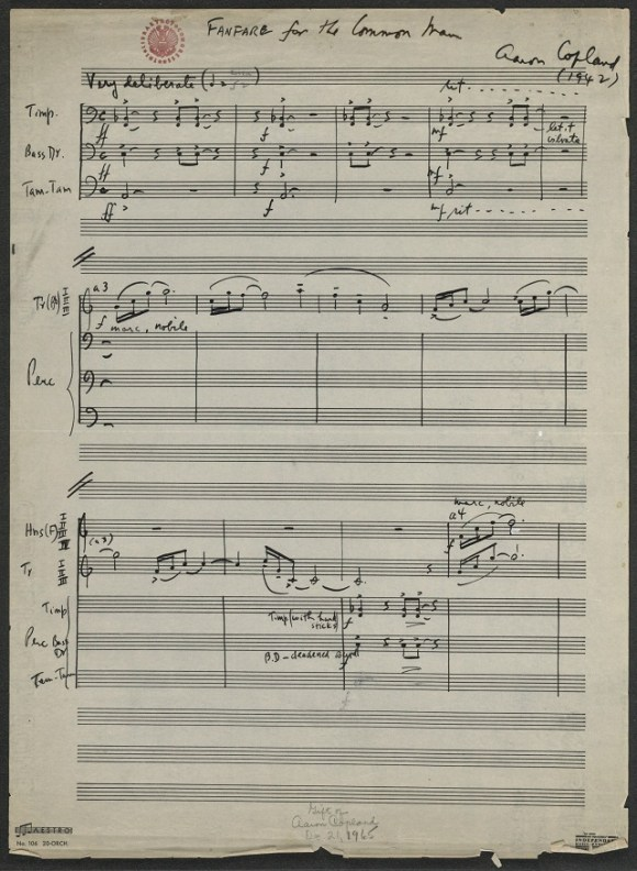 Manuscrito de la Fanfare for the Common Man de Aaron Copland (fuente: Librería del Congreso, USA)