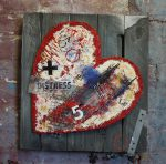 fragile heart : thumbnail, paint on hessian, small wall art