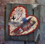 fragile heart : thumbnail, paint on hessian, small wall art