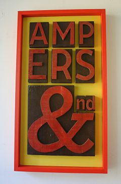 wood ampersand typographic art